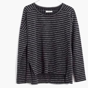 Madewell Marled Stripe Shirt Black White Small